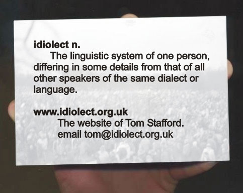 my idiolect the influence Please write my idiolect essay when i wrote my idiolect essay i concentrated on my own language, it's peculiarities and the influence it has on the process of.